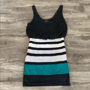 Express green, white and black Dress